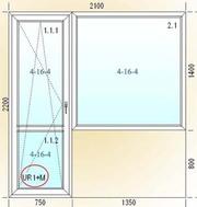 Окна и двери на балкон 2100х2200
